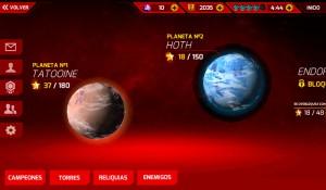 El jugón de móvil Análisis Star Wars: Galactic Defense Planetas