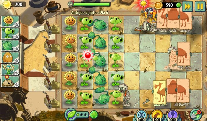 Análisis Juego Plants vs. Zombies 2 partida 1