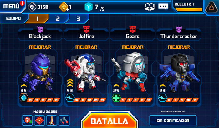 El Jugón de Movil TRANSFORMERS Battle Tactics Partida 1