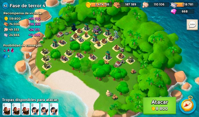 El Jugón de Móvil Gameplay Boom Beach Boom Beach - Defendiendo y atacando al Dr. Terror