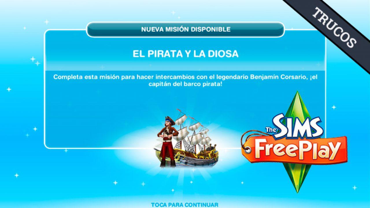 como buscar al pirata en los sims free play