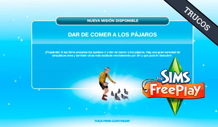 El Jugón de Móvil Guías y Trucos Los Sims Free Play - Misión 29 Dar de comer a los pájaros